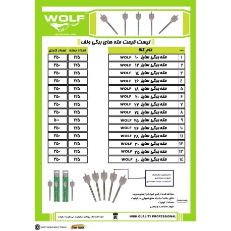 مته های برگی ولف WOLF